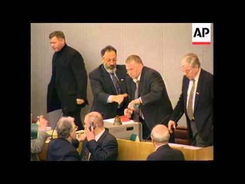 Russia - Zhirinovsky Throws Water In Duma Session