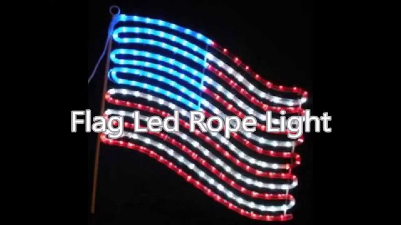 Patriotic String Lights Outdoor : Outdoor American Flag Led Rope Light - YouTube