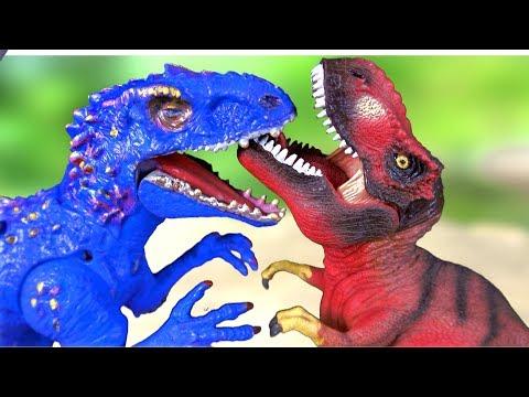 dinosaur-toys-tyrannosaurus-vs-indominus-rex-dinosaur-fight-dinosaur-battle-rematch