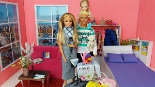 Babrie Ken and cute daughter doll routine. Family's going to vacation.👨👩👧