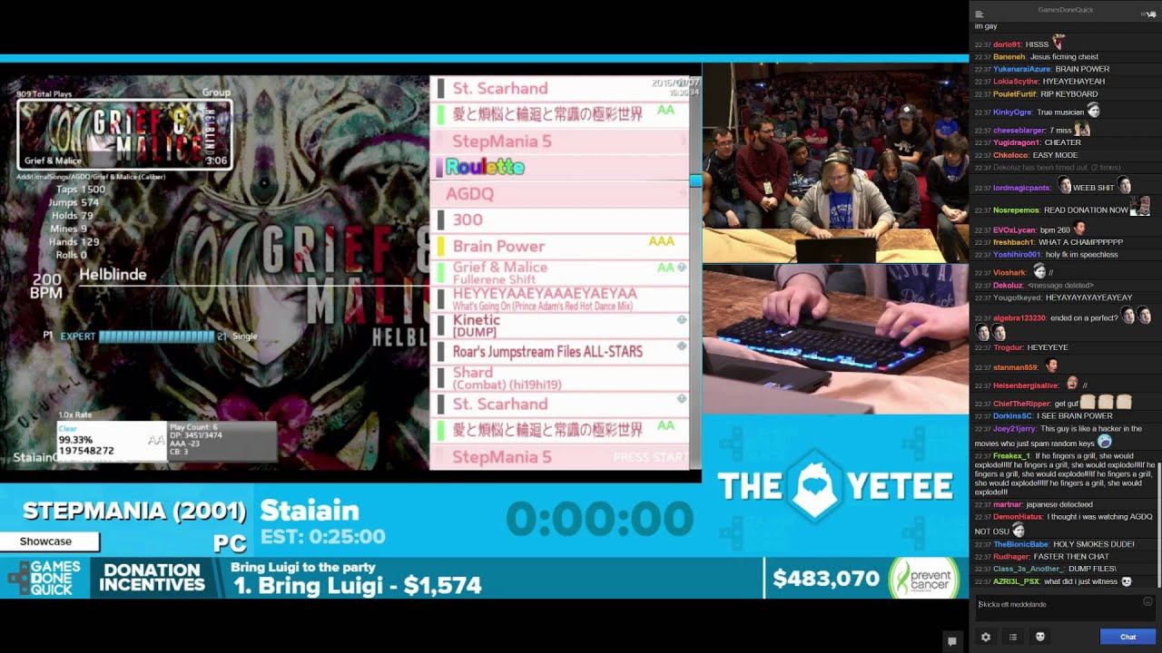 Insane Stepmania On Games Done Quick 2016 With Twitch Chat