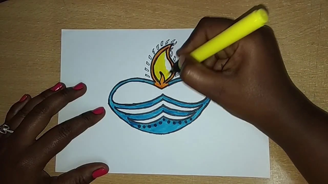How to draw agal vilakku drawing for kids