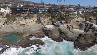 Drone Scenic Aerial View - 1000 Steps Beach - Laguna Beach, Orange County, CA