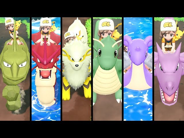 All SHINY Riding Pokémon in Pokémon Let's Go Pikachu & Eevee