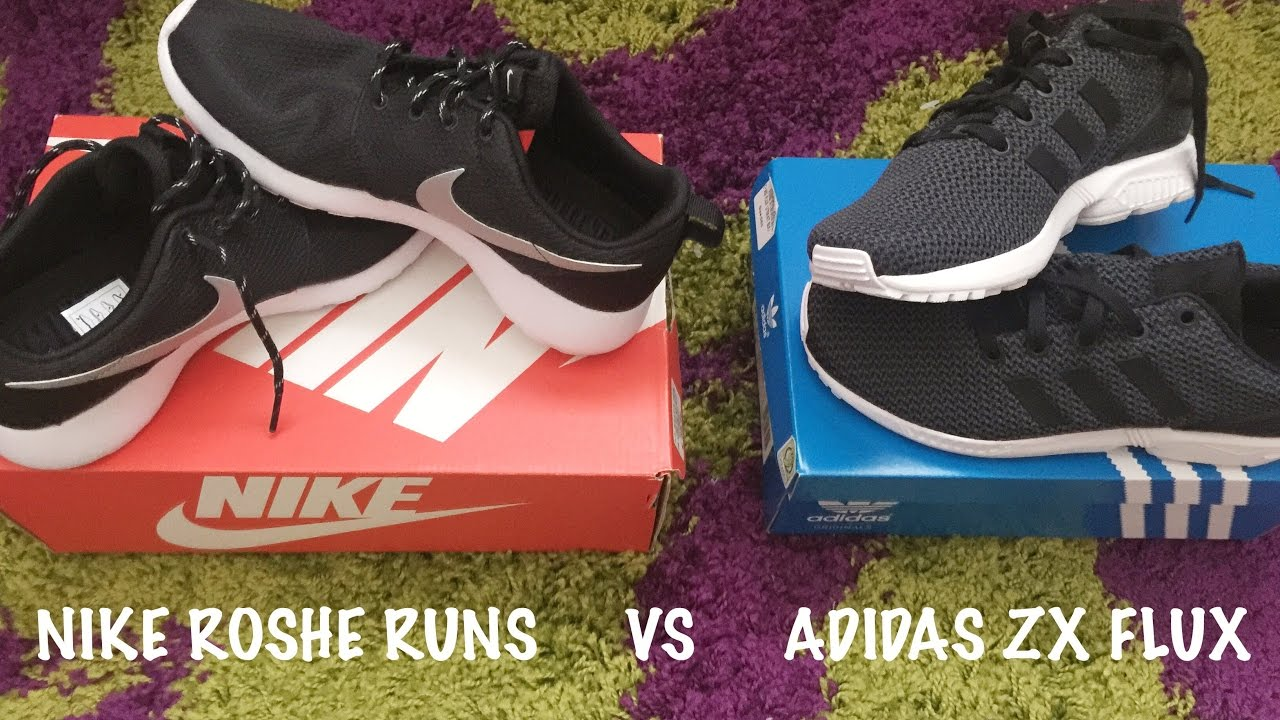 c9525ade5 NIKE ROSHE RUN VS ADIDAS ZX FLUX - YouTube