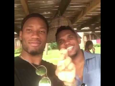 Samuel Eto'o and Didier Drogba rang in the New year together
