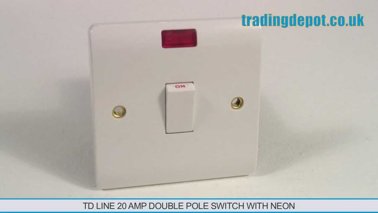hight resolution of trading depot td line 20 amp double pole switch with neon part no tlv324