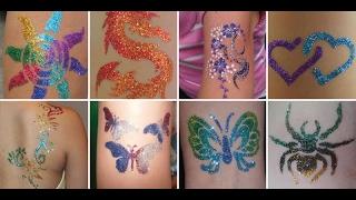 как сделать блеск тату трафаретом, блестками и клеем для тела