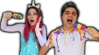 MALOUCOS e o papai COM A MÁGICA DO SORVETES  Maloucos cheats Dad with ice cream magic