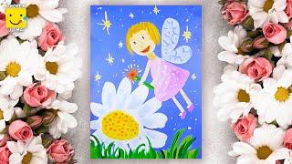 Как нарисовать фею - Цветочная Фея - урок рисования для детей 4-7 лет. Дети рисуют фею поэтапно