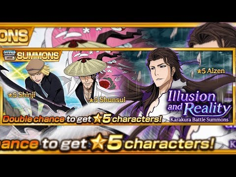 Bleach Brave Souls: Summons Aizen, Shinji e Shunsui REMAKE!!! Gameplay!!! - Omega Play
