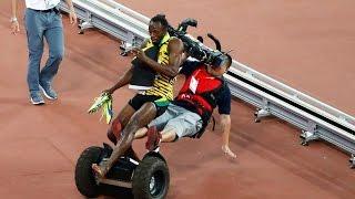 Usain Bolt beaten by camerama on segway - Beijing 2015 / Болта сбили / Болт упал - Bolt knocked down