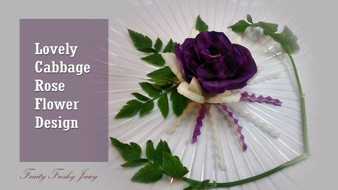Lovely Cubbage, Radish Rose Flower Garnish - Vegetable Flower Design