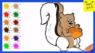 Coloring For Kids -  Squirrel | Drawing & Painting Animal Coloring Pages | Happy Kids TV