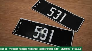 Victorian Heritage Number Plates - 2020 Shannons Winter Timed Online Auction