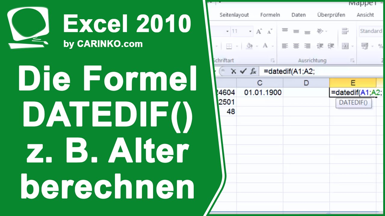 excel die formel datedif datumsdifferenzen z b alter berechnen youtube. Black Bedroom Furniture Sets. Home Design Ideas