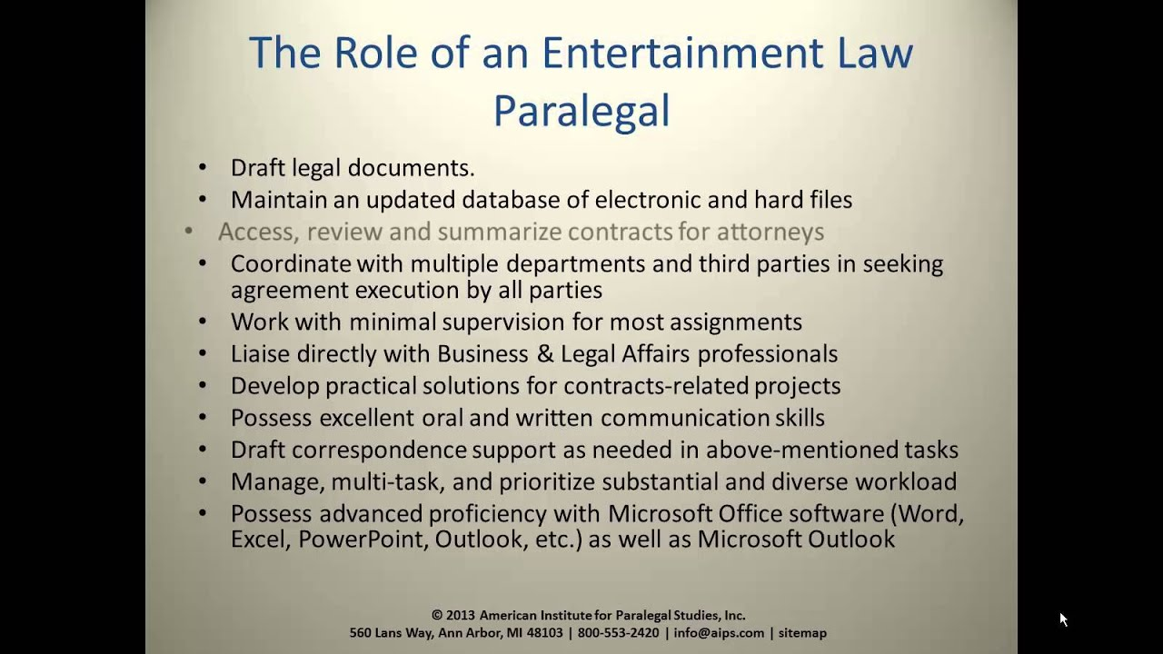 Entertainment Paralegal The Role of the Entertainment Law Paralegal