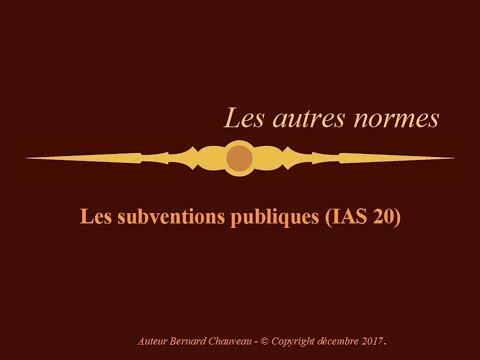 IAS 20 - SUBVENTIONS PUBLIQUES
