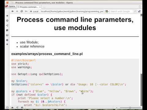 Beginner Perl Maven tutorial 4.13 - Process command line using Getopt::Long