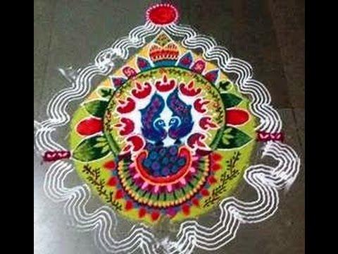 Diwali Peacock rangoli Easy peacock rangoli by Kshama Best ...