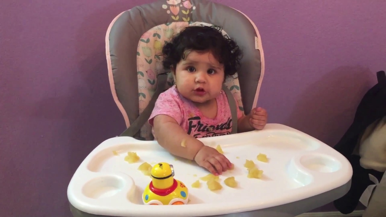 Hungry 9 month baby eating finger food happily - YouTube