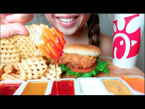 *No Talking* ASMR CHICK-FIL-A Chicken Cheese Sandwich & WAFFLE Fries 먹방  Eating Sounds