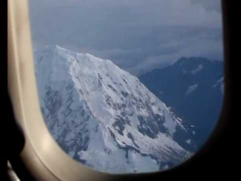 Flying above the Andes mountains