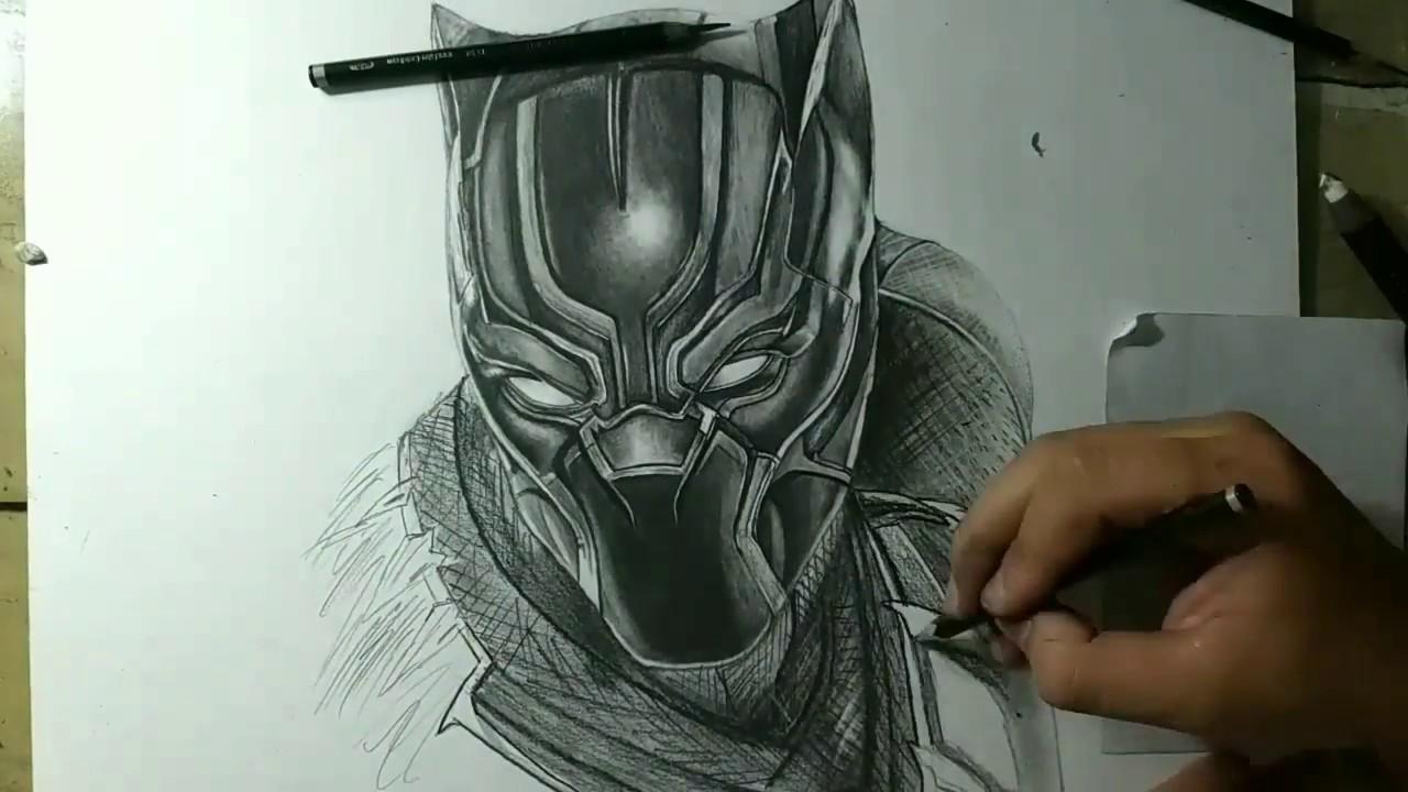 Desenhando Pantera Negra Speed Drawing Black Panther Marvel