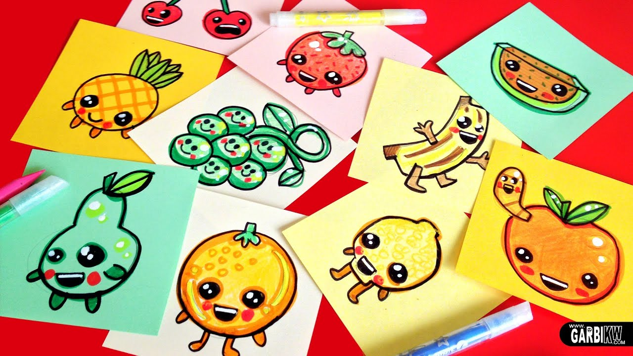 how to draw cute fruits - easy & kawaii drawings by garbi kw - youtube