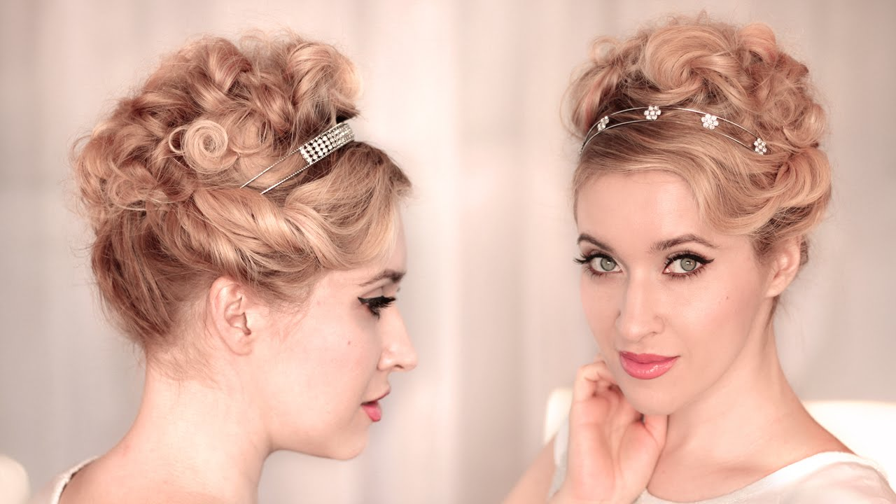 Medium Hair Curly Styles: Cute, Easy CURLY UPDO For Wedding/prom Hairstyle For