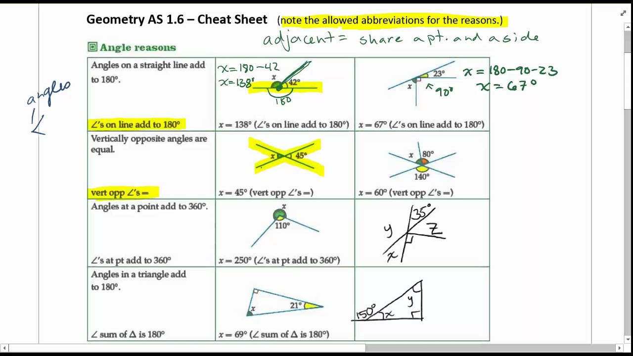 geometry angle rules part 1 - YouTube