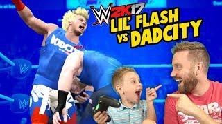 WWE 2k17 Lil' Flash vs DadCity TITLE MATCH with Spider-Man & Denis!