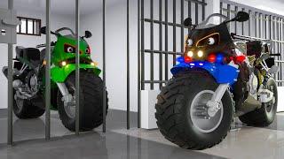 Police Motorcycle caugth by Police Motorbike in Wheel City Heroes Cartoon