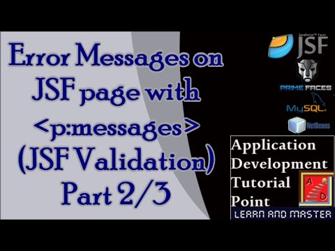JSF Tutorials for Beginners with Examples- JSF Validation, Error Messages on JSF Page:2/3