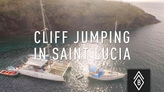 Cliff jumping in Saint-Lucia