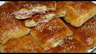 слоеные пирожки(слойки) с ветчиной и сыром
