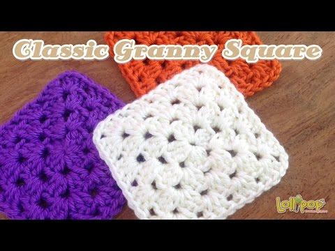 โครเชต์แกรนนี่สแควร์เบื้องต้น (Classic Granny Square)
