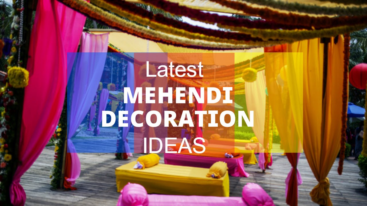Latest mehendi decoration ideas youtube for Sangeet decorations at home