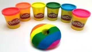 Play Doh Rainbow donut playdough doughnut by lababymusica