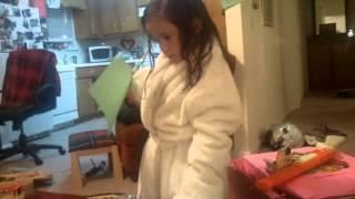 addie in Nana's bathrobe