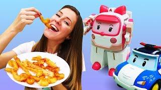 Desayuno para Robocars. Cómo hacer churros. La cocina para niños.
