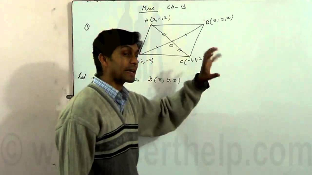 Three vertices of a parallelogram ABCD are A, B and C Find the coordinates of the fourth vertex.