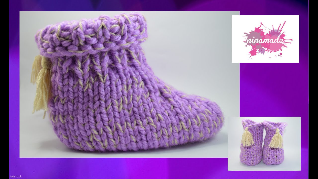DIY. Como tejer pantuflas con dos agujas// How to knit slippers with two needles