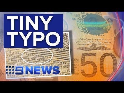 The spelling mistake on 46 million $50 notes   Nine News Australia