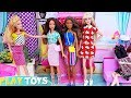 Barbie Dolls Shopping Mall Adventure for Glam Dresses in Malibu!