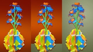 How to make Honeycomb styled paper flower vase   DIY Simple Paper Craft