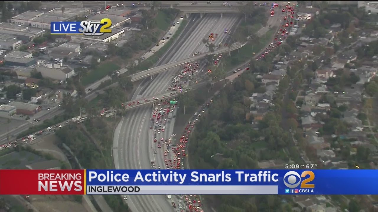 Police Activity Snarls Traffic On 405 Freeway In Inglewood