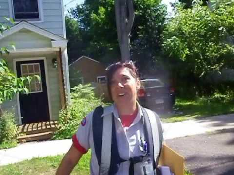 Canada Post Letter Carrier in Fredericton must watch for Cyclists and not Dogs!!!