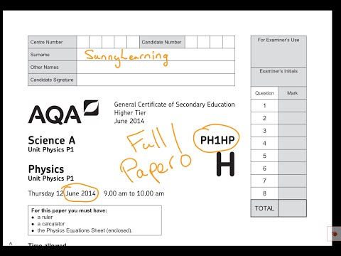 GCSE AQA Physics June 2014 PH1HP Full Paper