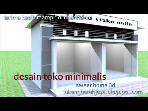 Desain Distro/Boutique Minimalis Modern Kekinian  6M x 8M di Lahan 8M x  8M.